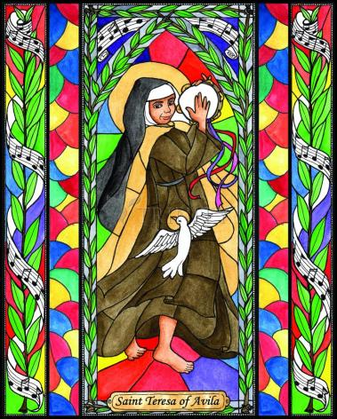 Wood Plaque - St. Teresa of Avila by B. Nippert