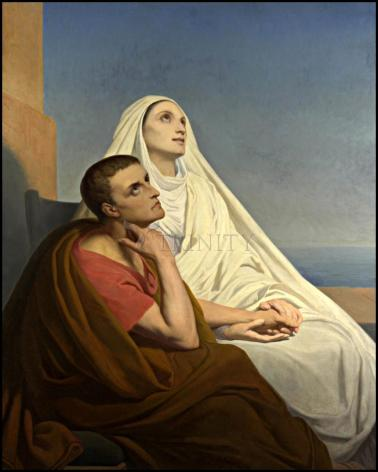 Wood Plaque - Sts. Augustine and Monica by Museum Art