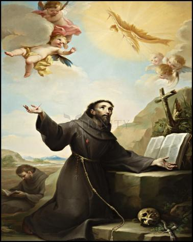 Wood Plaque - St. Francis of Assisi Receiving Stigmata by Museum Art