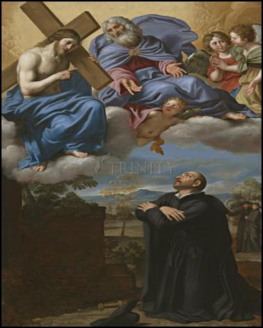 Wood Plaque - St. Ignatius of Loyola's Vision of Christ and God the Father at La Storta by Museum Art