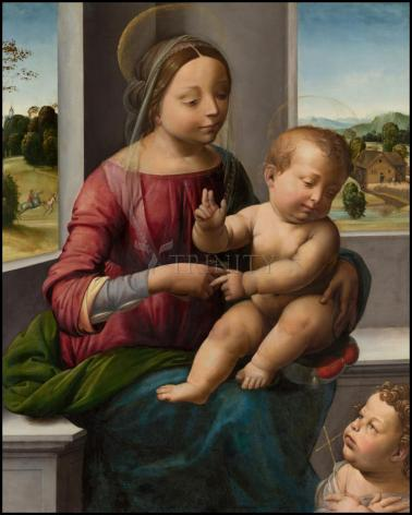 Wood Plaque - Madonna and Child with Young St. John the Baptist by Museum Art