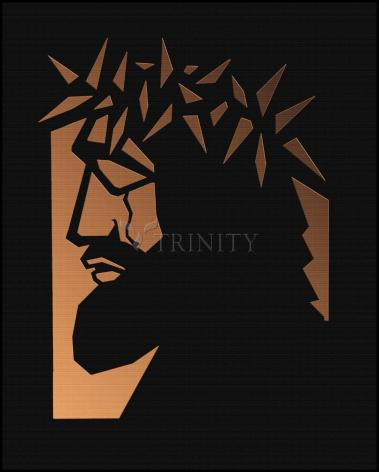 Wood Plaque - Christ Hailed as King - Brown Glass by D. Paulos
