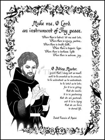 Wood Plaque - Prayer of St. Francis by D. Paulos