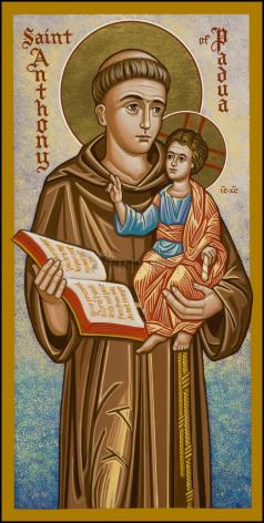 Wood Plaque - St. Anthony of Padua by J. Cole