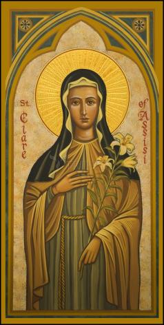 Wood Plaque - St. Clare of Assisi by J. Cole