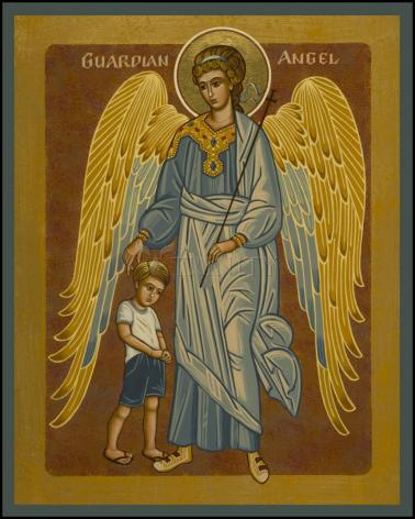 Wood Plaque - Guardian Angel with Boy by J. Cole