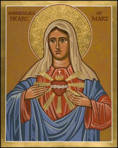 Wood Plaque - Immaculate Heart of Mary by J. Cole