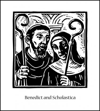 Wood Plaque - Sts. Benedict and Scholastica by J. Lonneman