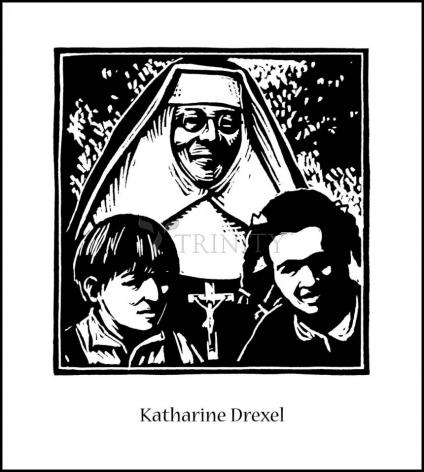 Wood Plaque - St. Katharine Drexel by J. Lonneman