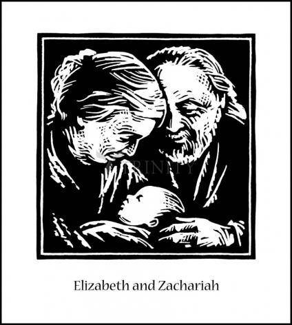 Wood Plaque - St. Elizabeth and Zachariah by J. Lonneman