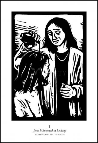 Wood Plaque - Women's Stations of the Cross 01 - Jesus is Anointed in Bethany by J. Lonneman