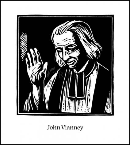 Wood Plaque - St. John Vianney by J. Lonneman