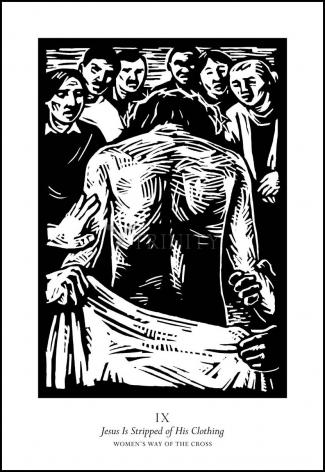 Wood Plaque - Women's Stations of the Cross 09 - Jesus is Stripped of His Clothing by J. Lonneman