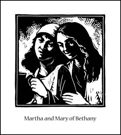 Wood Plaque - St. Martha and Mary by J. Lonneman