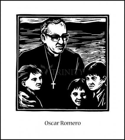 Wood Plaque - St. Oscar Romero by J. Lonneman