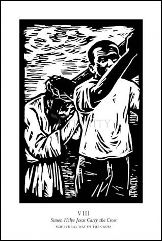 Wood Plaque - Scriptural Stations of the Cross 08 - Simon Helps Jesus Carry the Cross by J. Lonneman