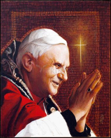 Wood Plaque - Pope Benedict XVI by L. Glanzman