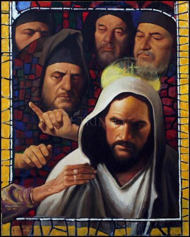 Wood Plaque - Jesus' Foes by L. Glanzman