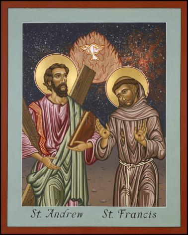 Wood Plaque - Sts. Andrew and Francis of Assisi by L. Williams