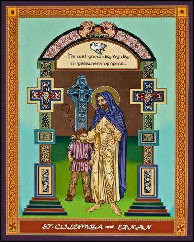 Wood Plaque - St. Columba and Ernan by L. Williams