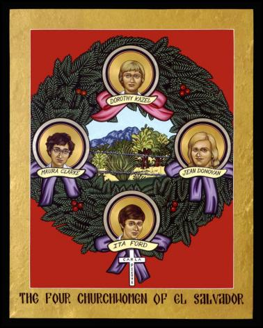 Wood Plaque - Four Church Women of El Salvador by L. Williams