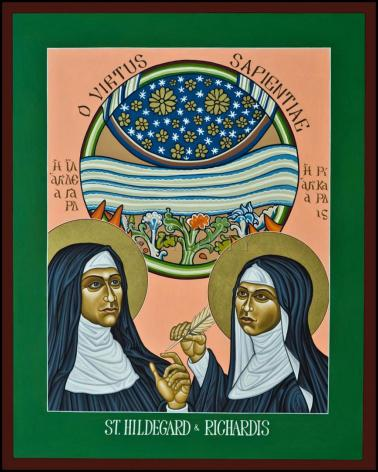 Wood Plaque - St. Hildegard of Bingen and her Assistant Richardis by L. Williams
