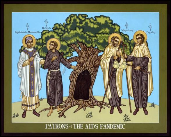 Wood Plaque - Patrons of the AIDS Pandemic by L. Williams
