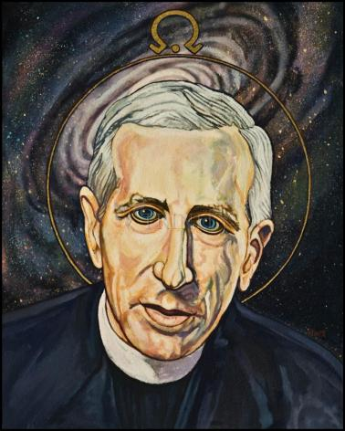 Wood Plaque - Fr. Pierre Teilhard de Chardin by L. Williams