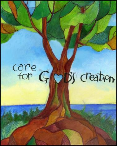 Wood Plaque - Care For God's Creation by M. McGrath