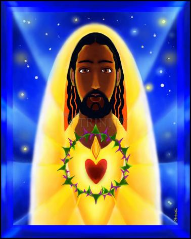 Wood Plaque - Cosmic Sacred Heart by M. McGrath