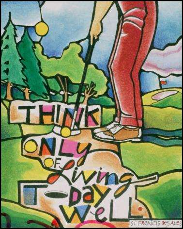 Wood Plaque - Golfer: Think Only of Living Today Well by M. McGrath