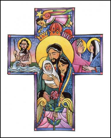 Wood Plaque - Holy Family Cross by M. McGrath