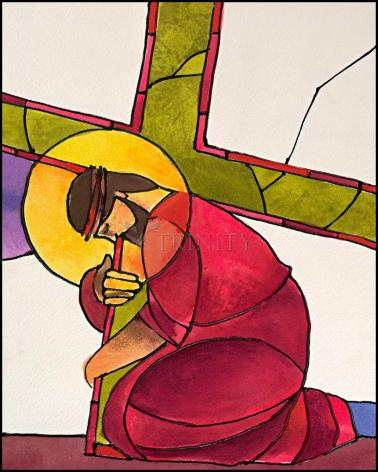 Wood Plaque - Stations of the Cross - 3 Jesus Falls the First Time by M. McGrath