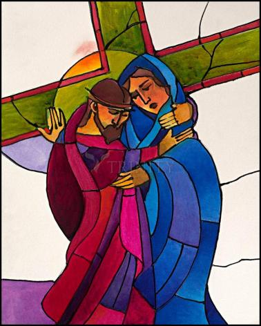 Wood Plaque - Stations of the Cross - 4 Jesus Meets His Sorrowful Mother by M. McGrath