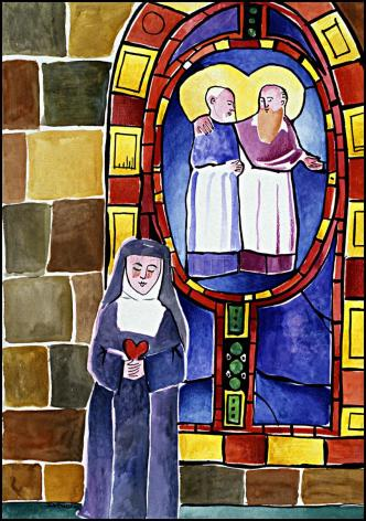 Wood Plaque - St. Margaret Mary Alacoque at Window by M. McGrath