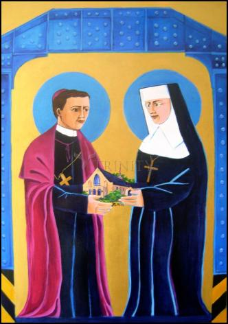 Wood Plaque - Sts. John Neumann and Katharine Drexel by M. McGrath