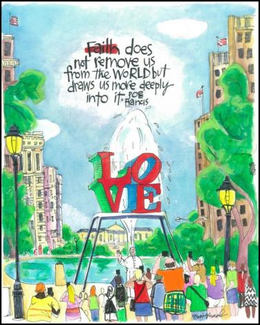 Wood Plaque - Pope Francis: Philly Love by M. McGrath