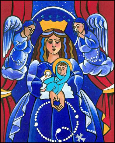 Wood Plaque - Mary, Queen of Heaven by M. McGrath