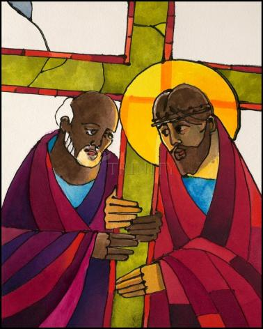 Wood Plaque - Stations of the Cross - 5 Simon Helps Jesus Carry the Cross by M. McGrath