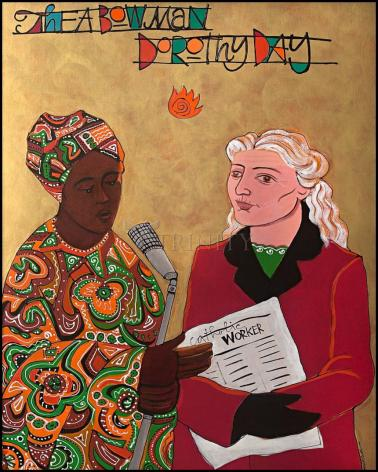 Wood Plaque - Sr. Thea Bowman and Dorothy Day by M. McGrath