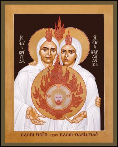 Wood Plaque - Sts. Brigid and Darlughdach of Kildare by R. Lentz