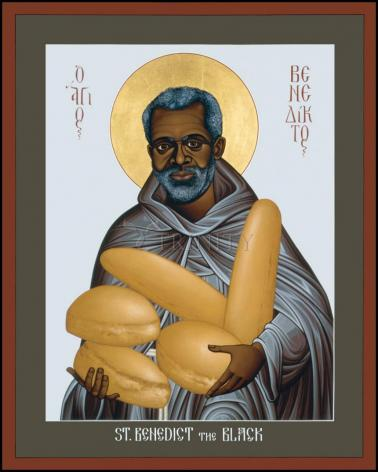 Wood Plaque - St. Benedict the Black by R. Lentz