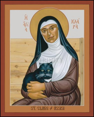 Wood Plaque - St. Clare of Assisi by R. Lentz