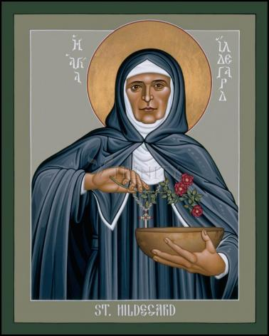 Wood Plaque - St. Hildegard of Bingen by R. Lentz