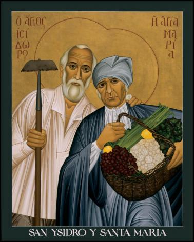 Wood Plaque - Sts. Isidore and Maria by R. Lentz