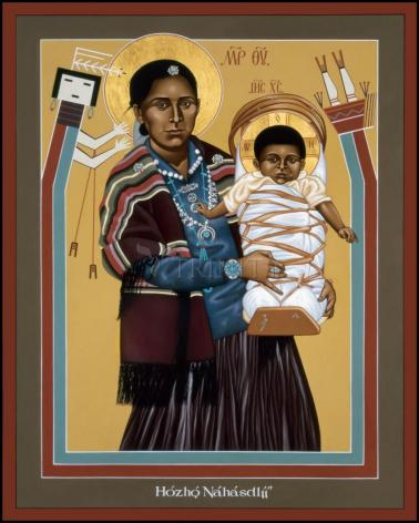 Wood Plaque - Navaho Madonna by R. Lentz