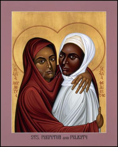 Wood Plaque - Sts. Perpetua and Felicity by R. Lentz