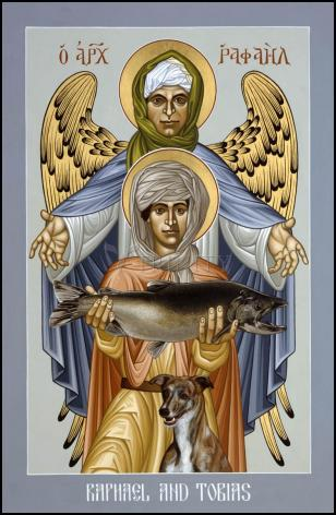 Wood Plaque - St. Raphael and Tobias by R. Lentz