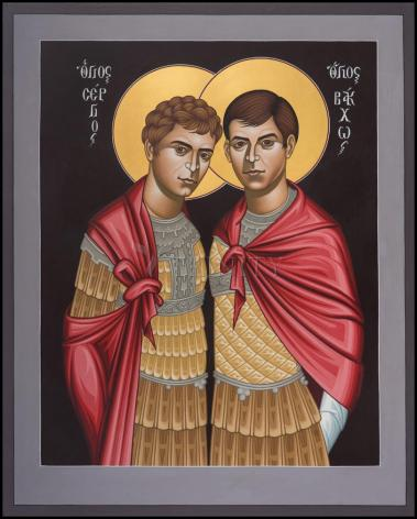 Wood Plaque - Sts. Sergius and Bacchus by R. Lentz