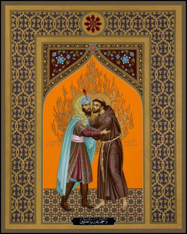 Wood Plaque - St. Francis and the Sultan by R. Lentz
